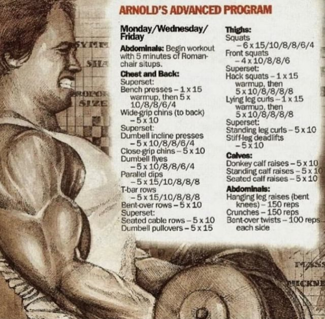 ARNOLD'S ADVANCED PROGRAM Thighs Friday with 5 minutes of Roman in workout chair ups. Chest and Back Superset Chest and Back Hack squats 15 Superset warmup, then Bench presses 1x15 then 5 x Lying leg curls 15 warmup, then to back x Standing leg curls 5 x 10 umbell incline presses Suf deadlifts chins mm Donkey calf raises 5 x 10 Standing calf raises 5 x Seatcd calf raises 5x10 twists 100 re 5 rows Hanging leg bent raises 5x10 knees 150 reps Paraliel di Seat ted rows 10 Dumbell pullovers 5 x 15 memes