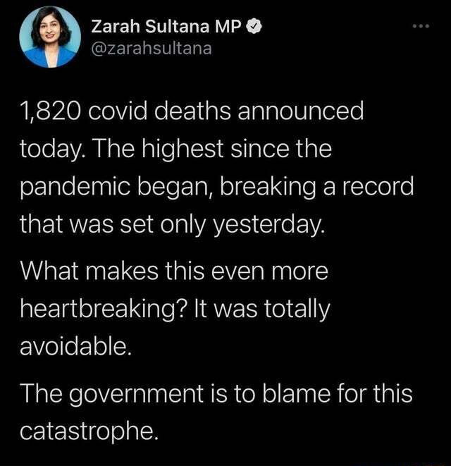 1,820 covid deaths announced today. The highest since the pandemic began, breaking a record that was set only yesterday. What makes this even more heartbreaking It was totally avoidable. The government is to blame for this catastrophe memes