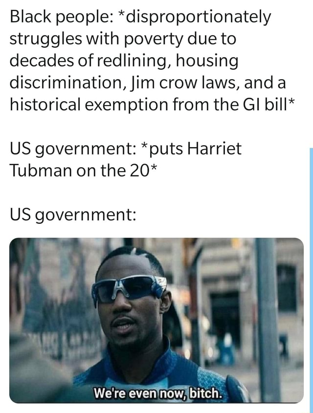 Black people *disproportionately struggles with poverty due to decades of redlining, housing discrimination, Jim crow laws, and historical exemption from the GI bill* US government *puts Harriet Tubman on the 20* US government Ne We're evennow, bitch memes