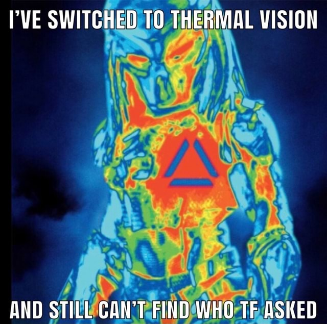 I'VE SWITCHED THERMAL VISION AND STILL CAN'T FIND WHO TF ASKED memes