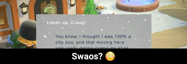 Listen up, C bug You know, thought I was 100% a, city boy, and that moving here Swaos Swaos meme