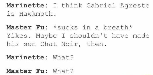 Marinette I think Gabriel Agreste is Hawkmoth. Master Fu *sucks in a breath* Yikes. Maybe I shouldn't have made his son Chat Noir, then. Marinette What Master Fu What memes