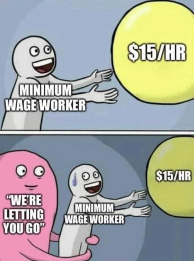 MINIMUM WAGE WORKER WE RE LEVTING WAGE WORKER YOU GO meme