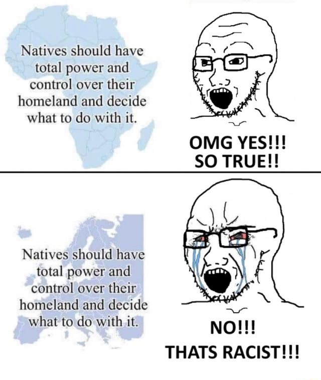 Natives should have total power and control over their homeland and decide what to do with it. OMG YES SO TRUE Natives should have total power and control over their homeland and decide what to do with it. NO THATS RACIST memes