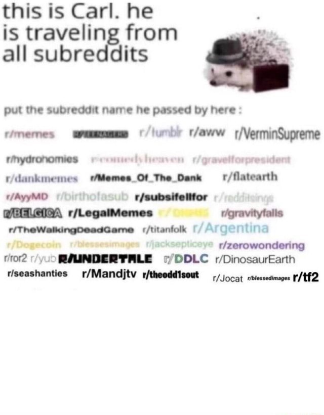 This is Carl. he is traveling from all subreddits put the subreddit name he passed by here memes rmydronomies ya ridankmemes The Memes Ot Dank falls thitanfolk Argentina blessesimages RMINDERTALE DDLC DinosaurEarth rleeashanties