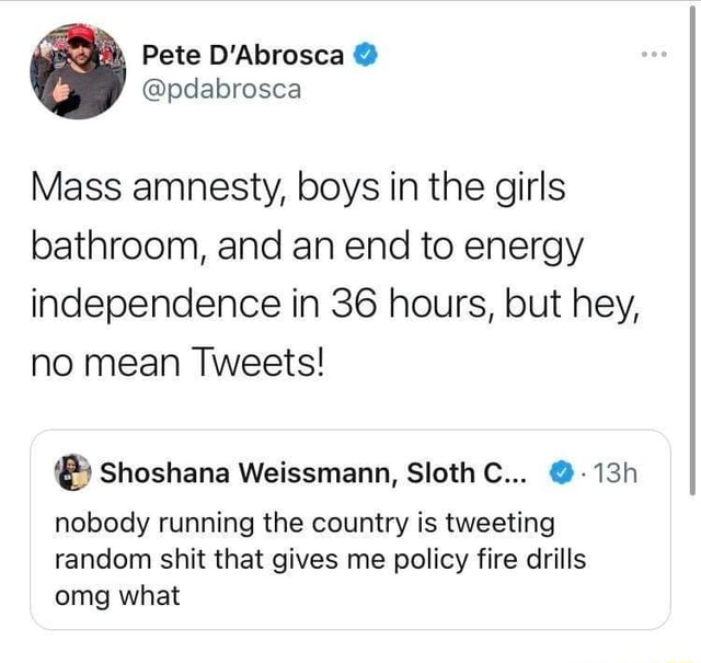 Mass amnesty, boys in the girls bathroom, and an end to energy independence in 36 hours, but hey, no mean Tweets nobody running the country is tweeting random shit that gives me policy fire drills omg what memes