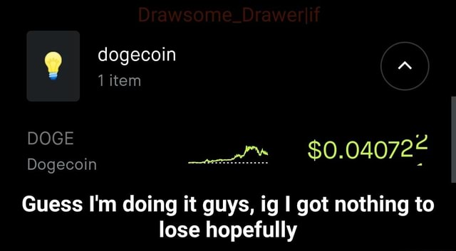 Dogecoin A 1 item DOGE Dogecoin Guess I'm doing it guys, ig I got nothing to lose hopefully  Guess I'm doing it guys, ig I got nothing to lose hopefully meme