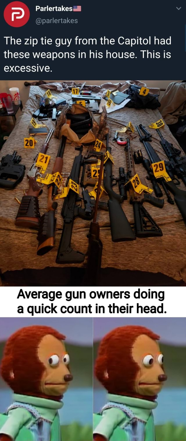 The zip tie guy from the Capitol had these weapons in his house. This is excessive. Average gun owners doing a quick count in their head memes