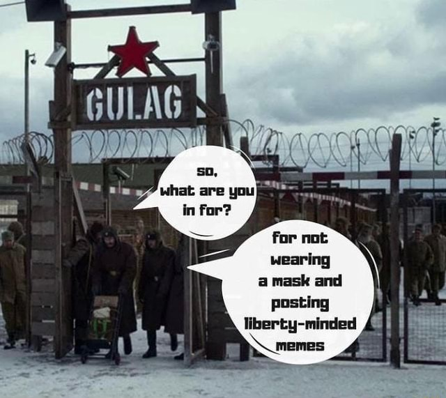 GULAG for not wearing a mask and posting liberty minded memes