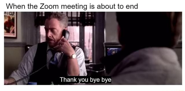 When the Zoom meeting is about to end Thank you bye bye meme