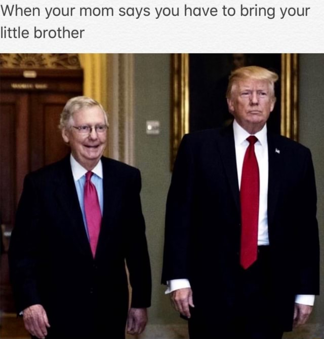 When your mom says you have to bring your little brother meme