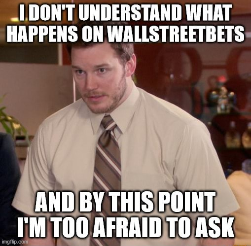 DON'T UNDERSTAND WHAT HAPPENS ON WALLSTREETBETS AND BY THIS POINT I'M AFRAIN ASK meme