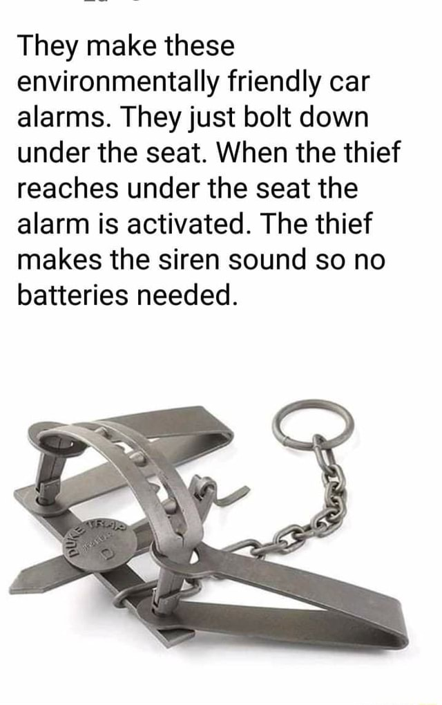 They make these environmentally friendly car alarms. They just bolt down under the seat. When the thief reaches under the seat the alarm is activated. The thief makes the siren sound so no batteries needed memes
