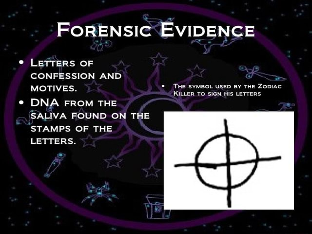 FoRENSIC EvIDENCE LETTERS OF CONFESSION AND MOTIVES. THE SYMBOL KILLER TO USED SIGN HIS BY THE ZoDIAC LETTERS KILLER To SIGN HIS LETTERS DNA FROM THE SALIVA FOUND ON THE STAMPS OF THE LETTERS meme