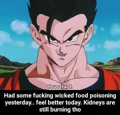 Had some fucking wicked food poisoning yesterday feel better today. Kidneys are still burning tho Had some fucking wicked food poisoning yesterday feel better today. Kidneys are still burning tho meme