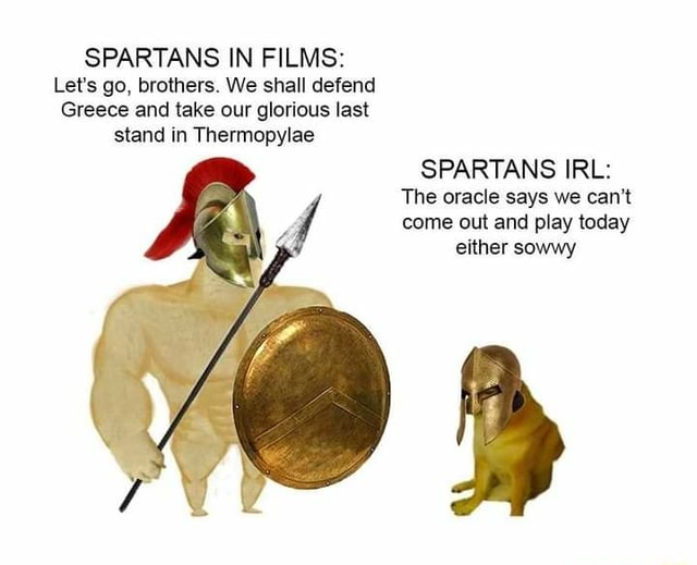 SPARTANS IN FILMS Let's go, brothers. We shall defend Greece and take our glorious last stand in Thermopylae SPARTANS IRL The oracle says we can not come out and play today either sowwy meme