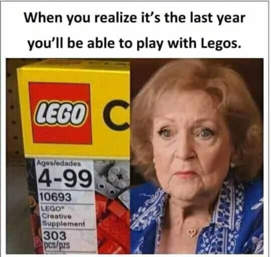 When you realize it's the last year you'll be able to play with Legos. Supplement 303 meme