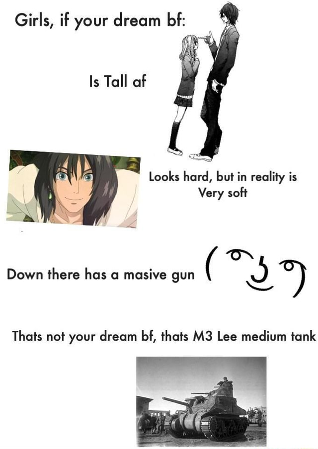 Girls, if your dream bf Is Tall af Looks hard, but in reality is Very soft  oN Down there has o masive gun NS Thats not your dream bf, thats Lee medium tank memes