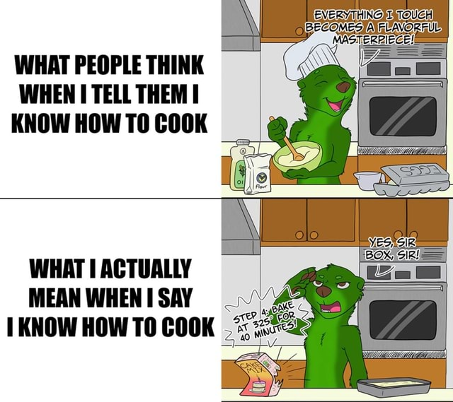 MES. WHAT PEOPLE THINK WHEN TELL THEM I KNOW HOW TO COOK I WHAT ACTUALLY MEAN WHEN SAY KNOW HOW TO COOK memes