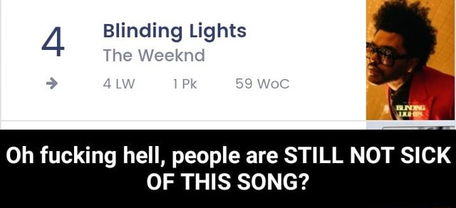 Blinding Lights The Weeknd 59 Oh fucking hell, people are STILL NOT SICK OF THIS SONG Oh fucking hell, people are STILL NOT SICK OF THIS SONG memes