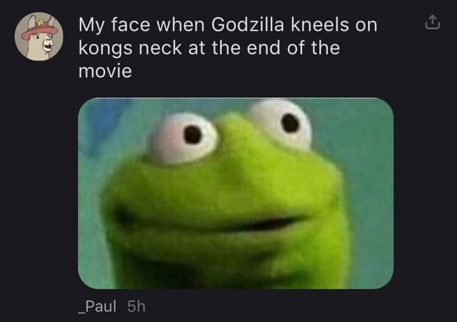 My face when Godzilla kneels on kongs neck at the end of the movie Paul memes