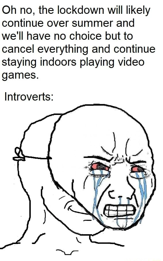 Oh no, the lockdown will likely continue over summer and we'll have no choice but to cancel everything and continue staying indoors playing games. Introverts meme