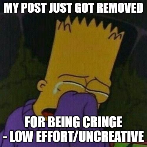 MY POST JUST GOT REMOVED SN FOR BEING CRINGE LOW memes