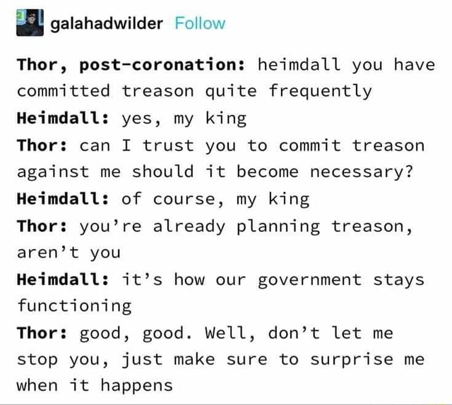 Galahadwilder Follow Thor, post coronation heimdall you have committed treason quite frequently Heimdall yes, my king Thor can I trust you to commit treason against me should it become necessary Heimdall of course, my king Thor you're already planning treason, aren't you Heimdall it's how our government stays functioning Thor good, good. Well, do not let me stop you, just make sure to surprise me when it happens memes