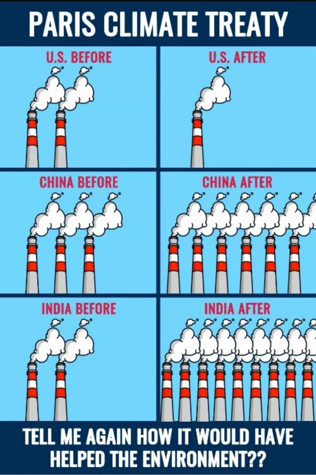 PARIS CLIMATE TREATY US. APTER CHINA BEFORE TELL ME AGAIN HOW IT WOULD HAVE HELPED THE ENVIRONMENT meme
