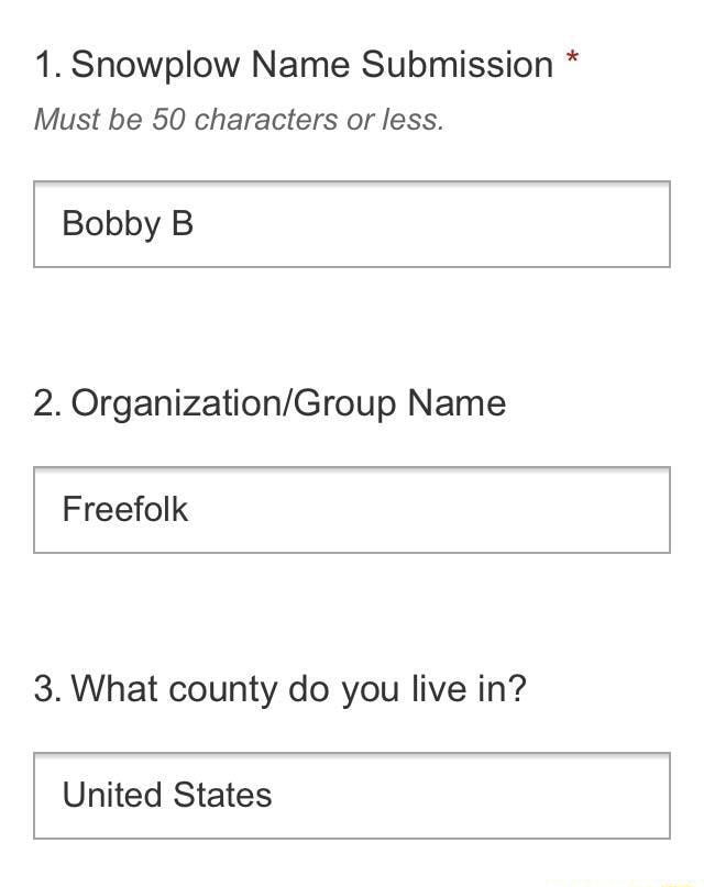 1. Snowplow Name Submission Must be 50 characters or less. Bobby B 2. Name Freefolk 3. What county do you live in United States memes