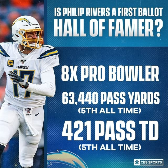 IS PHILIP RIVERS A FIRST BALLOT HALL OF FAMER PRO BOWLER 63.440 STH BASS ALL YARDS 421PASS TD STH ALL TIME meme