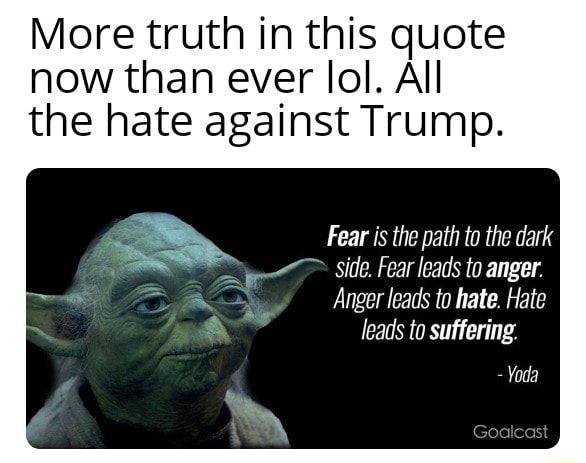 More truth in this quote now than ever lol. All the hate against Trump. Fear is the path to the dark side. Fear leads to anger. Anger leads to hate. Hate leads to suffering. Yoda Goalcas meme