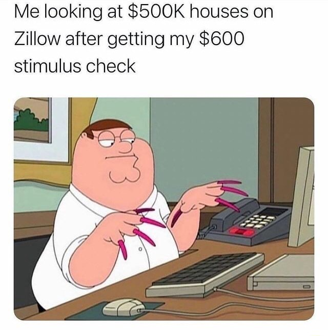 Me looking at SSOOK houses on Zillow after getting my $600 stimulus check memes