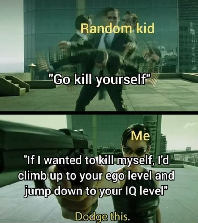 Kid Go kill yourself wanted myself, I'd climb up to your ego level and yuump down to your IQ lever Dodgetthis memes