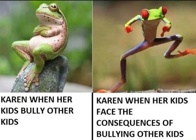 Ww KAREN WHEN HER KAREN WHEN HER KIDS KIDS BULLY OTHER FACE THE KIDS CONSEQUENCES OF BULLYING OTHER KIDS memes
