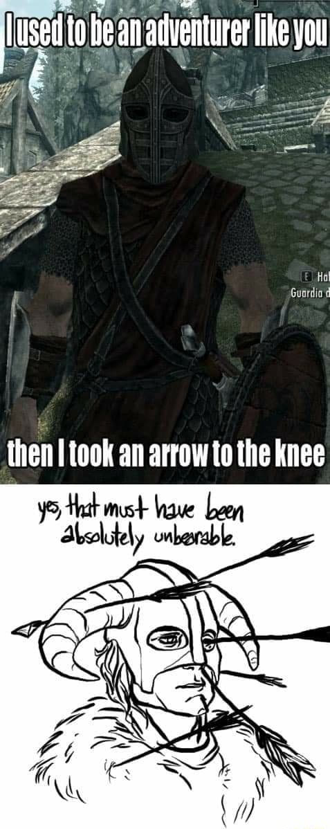 Uset he an adventurer ike you ihen icok an arrow to the knee must have meme
