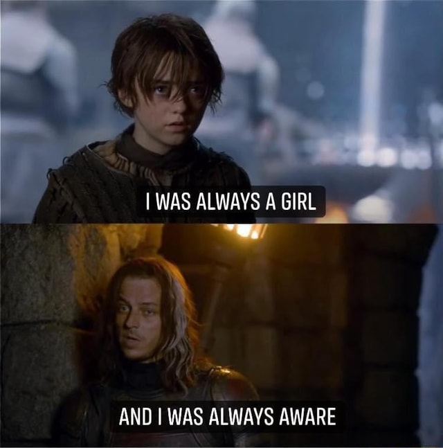 WAS ALWAYS A GIRL AND I WAS ALWAYS AWARE memes