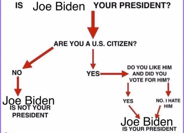 IS Joe Biden YOUR PRESIDENT ARE YOU AU.S. CITIZEN DO YOU LIKE HIM NO YES AND DID YOU VOTE FOR HIM Joe Biden YES NO. HATE IS NOT YOUR HIM PRESIDENT oe Biden IS YOUR PRESIDENT meme