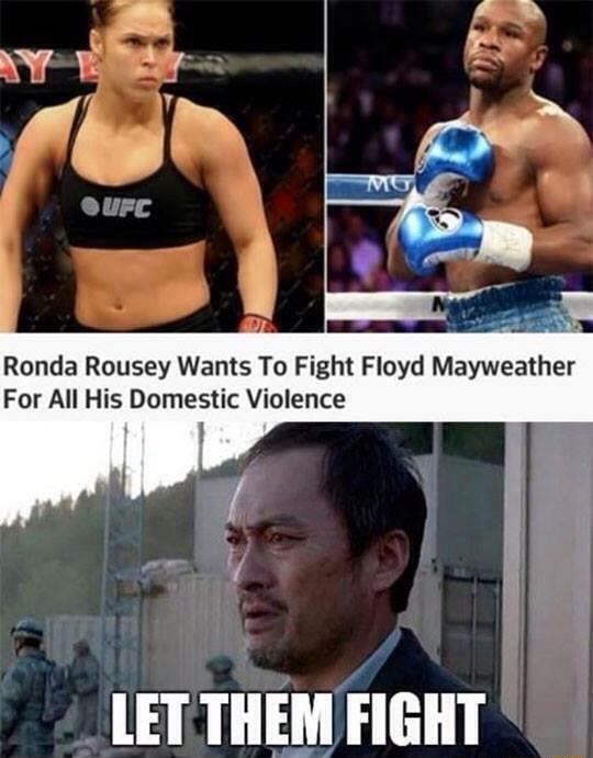 Rs Ronda Rousey Wants To Fight Floyd Mayweather For All His Domestic Violence LET THEM FIGHT meme