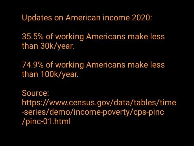 Updates on American income 2020 35.5% of working Americans make less than 74.9% of working Americans make less than Source pinc 01.html meme
