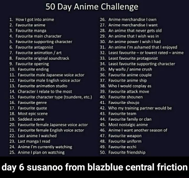 50 Day Anime Challenge How got into anime Favourite anime Favourite manga Favourite main character Favourite supporting character Favourite antagonist Favourite animation  art Favourite original soundtrack Favourite opening 10. Favourite ending. Favourite male Japanese voice actor 12, Favourite male English voice actor 13, Favourite animation studio. Character relate to the most. Favourite character type tsundere, etc. . Favourite genre Favourite quote Most epic scene 19. 20. 21. 22. 23. 25. Saddest scene 20. Favourite female Japanese voice actor Favourite female English voice actor 22. Last anime I watched Last manga I read Anime I'm currently watching Anime plan on watching 26. 27. 28. 29. 30. 31. 32. 33. 35. 36. 38. 39. 40. al, 42. 43. 45. 46. 47. 48. 50. Anime merchandise I own Anime m