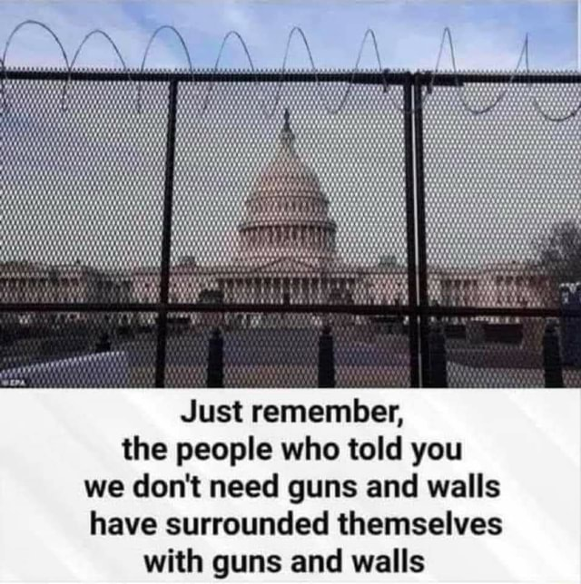 Just remember, the people who told you we do not need guns and walls have surrounded themselves with guns and walls memes