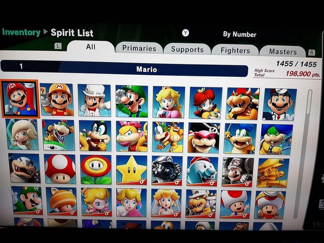 Inventory  Spirit List By Number Primaries Supports Fighters Masters Masters 1455 1455 Mario meme