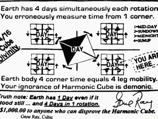 Earth has 4 days simultaneously each rotation You erroneously measure time from 1 corner. Earth body 4 corner time equals 4 leg mobility. Your ignorance of Harmonic Cube is demonic. ruth note Earth has 1 Day even if it food still and 4 Days in rotation. $1,000.00 to anyone who can disprove the Harmonic Cube. Gene Ray, Cubic memes