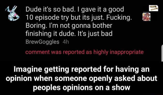 Dude it's so bad. I gave it a good 10 episode try but its just. Fucking. Boring. I'm not gonna bother finishing it dude. It's just bad BrewGoggles comment was reported as highly inappropriate Imagine getting reported for having an opinion when someone openly asked about peoples opinions on a show  Imagine getting reported for having an opinion when someone openly asked about peoples opinions on a show memes