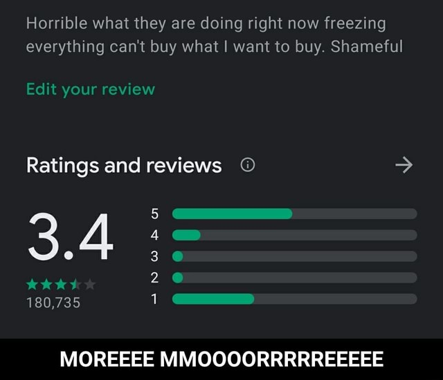Horrible what they are doing right now freezing everything can not buy what I want to buy. Shameful Edit your review Ratings and reviews 3.4 180,735 MOREEEE MMOOOORRRRREEEEE  MOREEEE MMOOOORRRRREEEEE memes