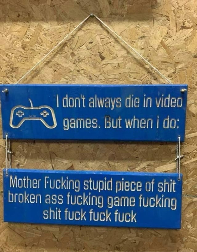 Do not always die in games. but when do Mother Fucking stupid piece of shit broken ass fucking game fucking shit fuck fuck fuck memes