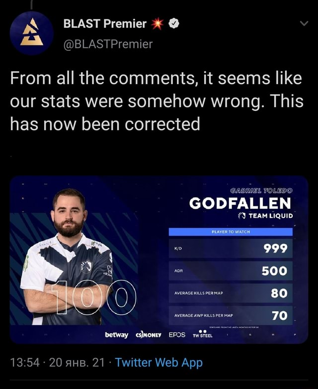 BLAST Premier BLASTPremier From all the comments, it seems like our stats were somehow wrong. This has now been corrected GABRIEL TOLEDO GODFALLEN TEAM LIQUID FLOWER pp 999 500 80 MAP RAGE AWP KILLS PER MAP 70 betway EPOS wore meme
