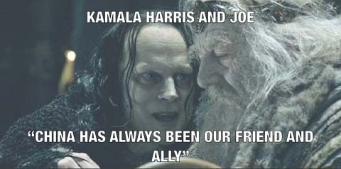 KAMALA HARRIS AND JOE CHINA HAS ALWAYS BEEN OUR FRIEND AND ALLY memes