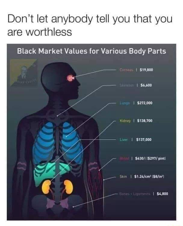 Do not let anybody tell you that you are worthless Black Market Values for Various Body Parts $272,000 $138,700 $137,000 pint memes